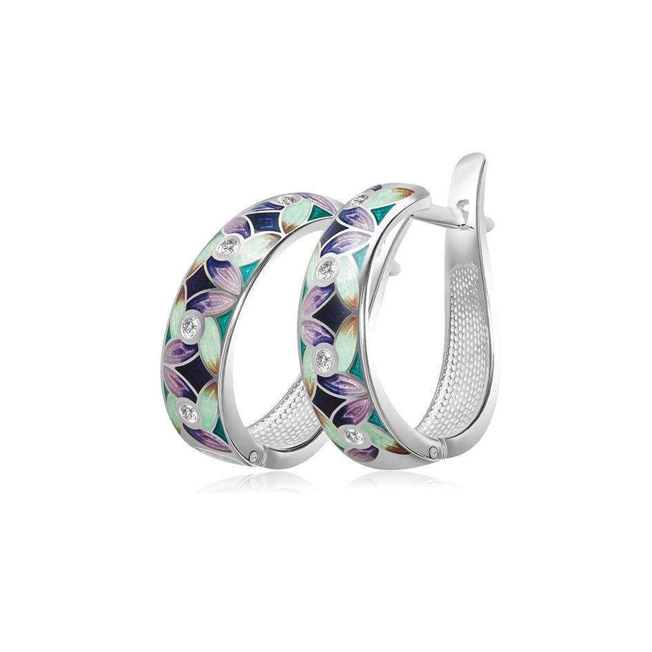 31 100 1s 1 - Серьги-полукольца из серебра «Ветерок», фиолетово-зеленые