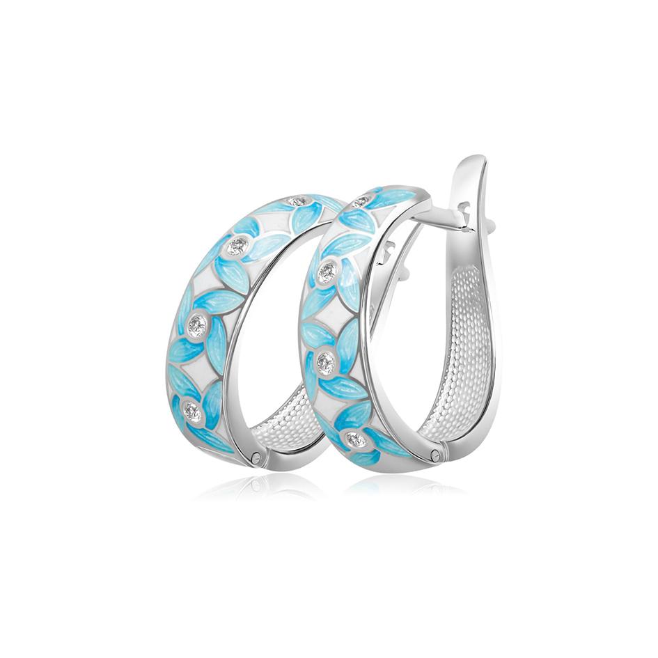 31 100 2s 1 - Серьги-полукольца из серебра «Ветерок», голубые