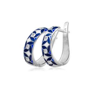 31 100 3s 1 300x300 - Серьги-полукольца из серебра «Ветерок», синие