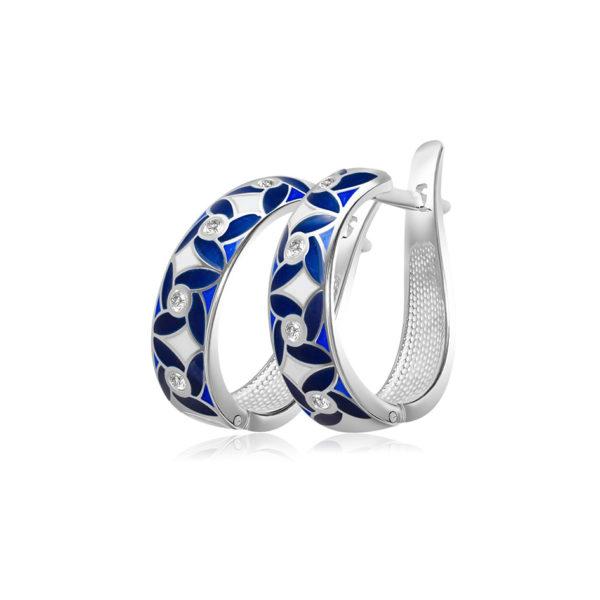 31 100 3s 1 600x600 - Серьги-полукольца из серебра «Ветерок», синие