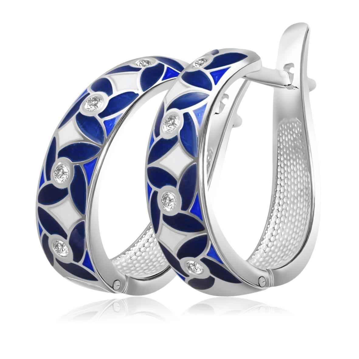 Серьги «Ветерок», синяя