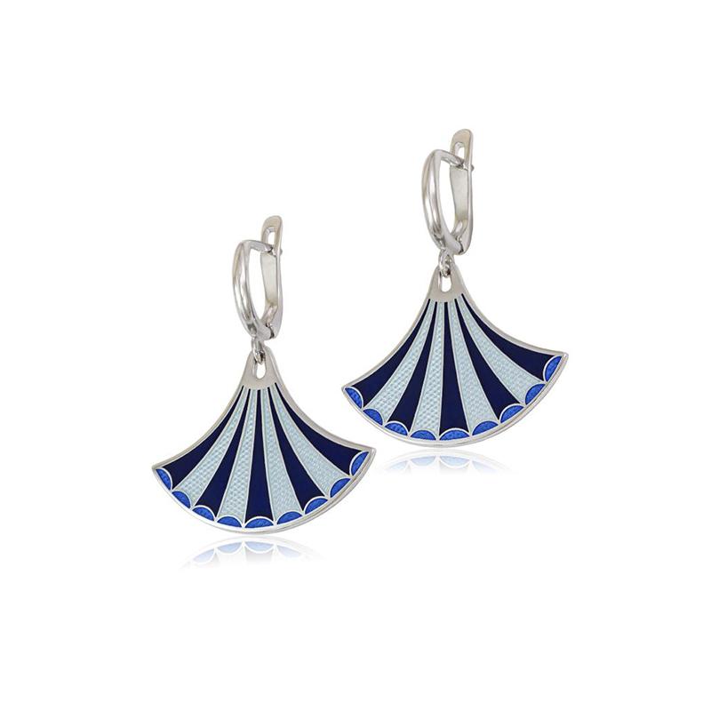 31 117 2s 1 - Серьги-подвески серебряные «Тамтам», синие