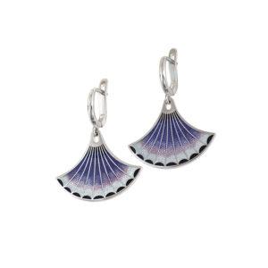 31 117 3s 1 300x300 - Серьги-подвески серебряные «Тамтам», фиолетовые