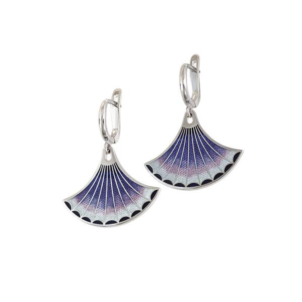 31 117 3s 1 600x600 - Серьги-подвески серебряные «Тамтам», фиолетовые