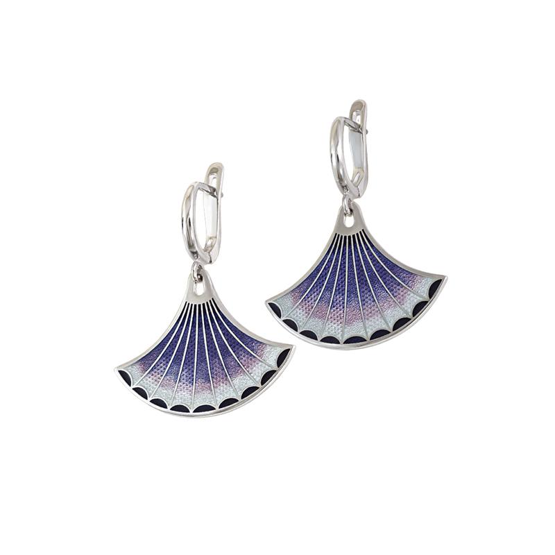 31 117 3s 1 - Серьги-подвески серебряные «Тамтам», фиолетовые
