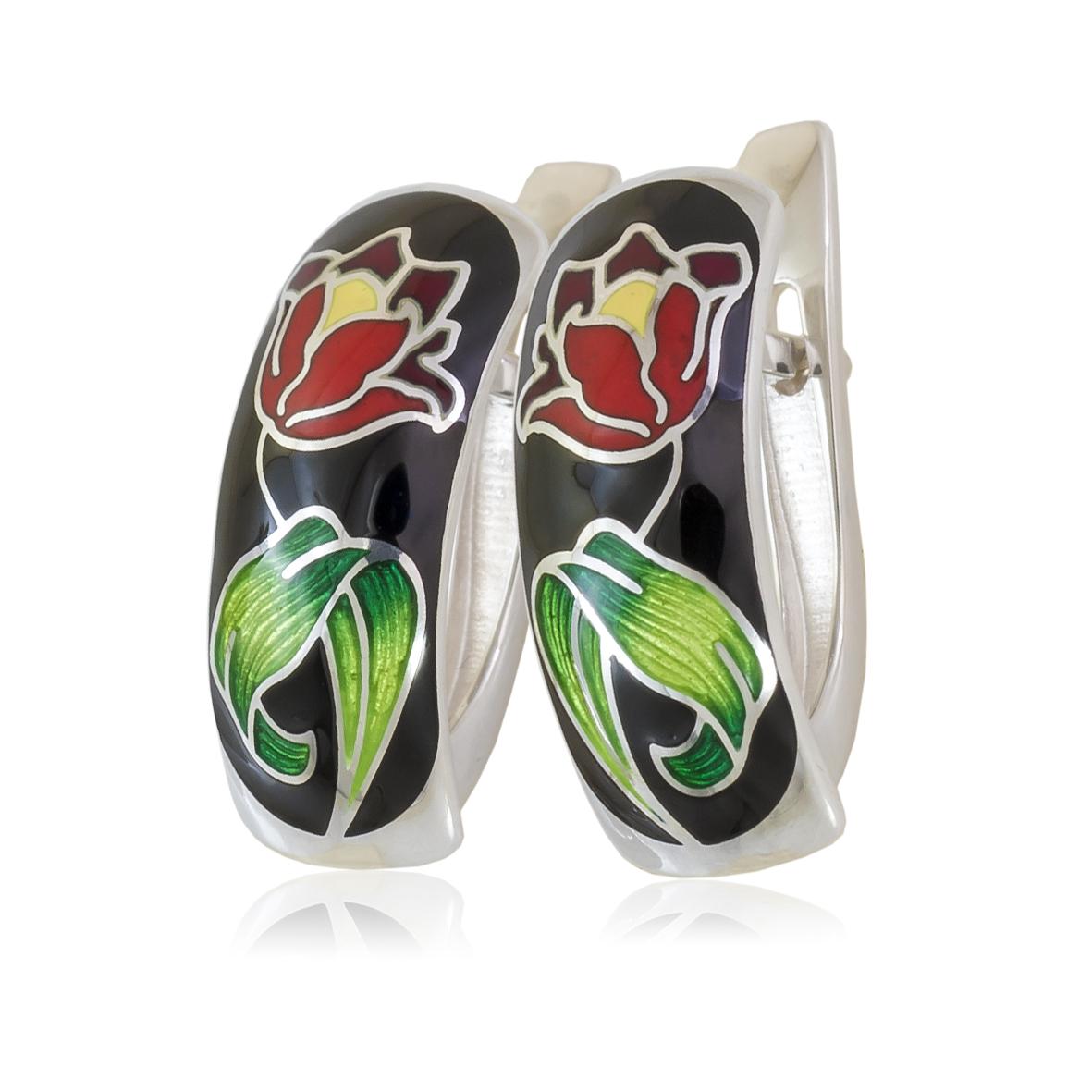 Серьги «Тюльпаны», красно-белая