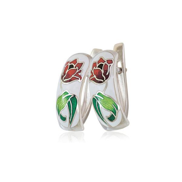 31 136 3s 1 600x600 - Серьги с английским замком «Тюльпаны», красно-белые