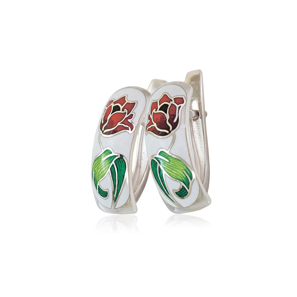 31 136 3s 1 - Серьги с английским замком «Тюльпаны», красно-белые