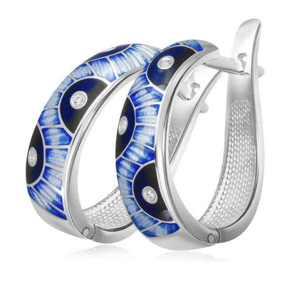 Серьги «Эрте», синяя