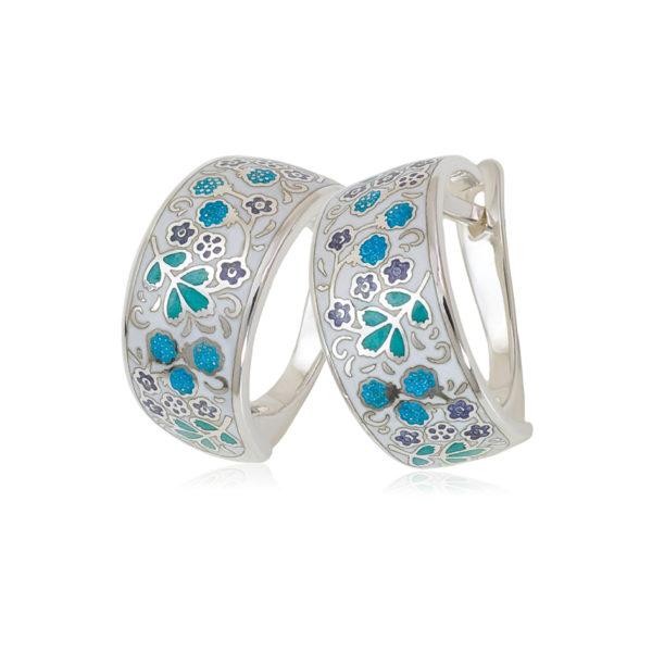 3 02 4s 1 600x600 - Серьги-полукольца из серебра «Клубника», белые