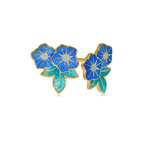 3 04 2 2cv 1 600x600 - Пуссеты 2 цветка «Петуния» из серебра (золочение), голубые