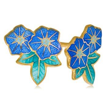 Пуссеты 2 цветка «Петуния» (золочение), голубая
