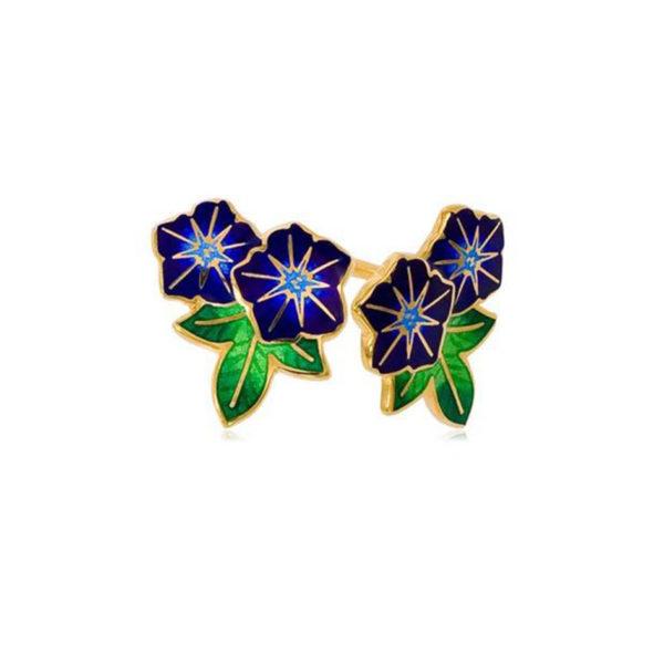 3 04 3 2cv 1 600x600 - Пуссеты 2 цветка «Петуния» из серебра (золочение), синие
