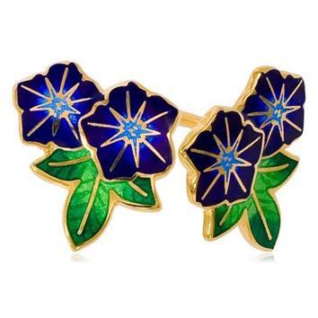 Пуссеты 2 цветка «Петуния» (золочение), синяя