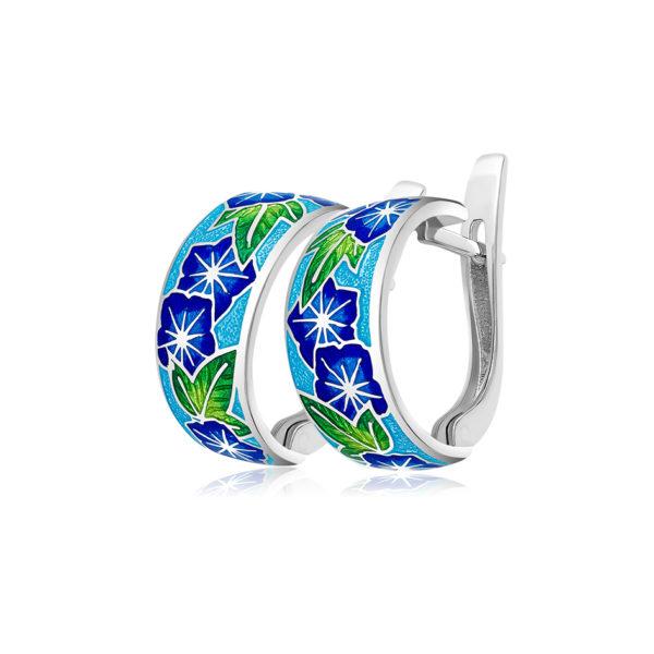 3 04 3s 1 600x600 - Серьги-полукольца из серебра «Петуния», синие