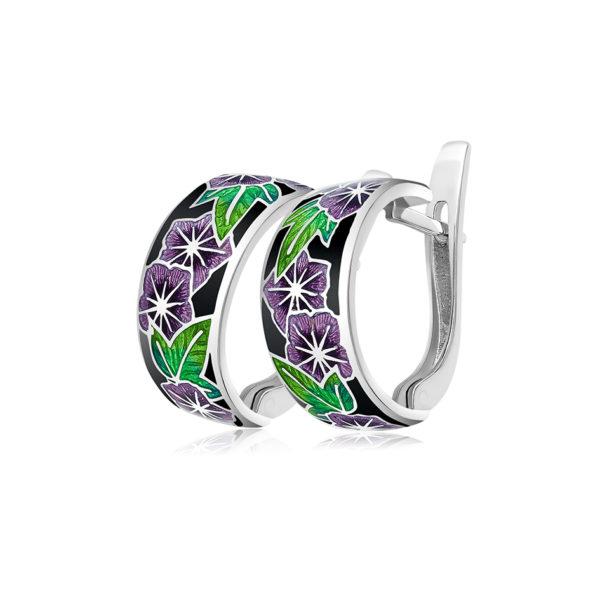3 04 4s 1 600x600 - Серьги-полукольца из серебра «Петуния», фиолетовые