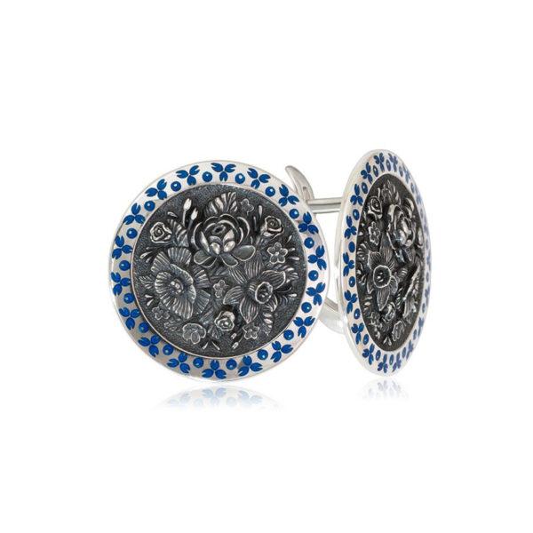 3 24 1 1 4 600x600 - Серьги из серебра круглые «Жостово», синие