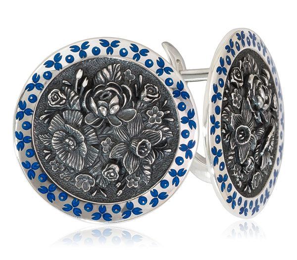Серьги «Жостово» (круглые), синяя
