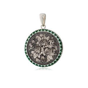 3 24 1s 1 300x300 - Серебряная подвеска круглая «Жостово», зеленая