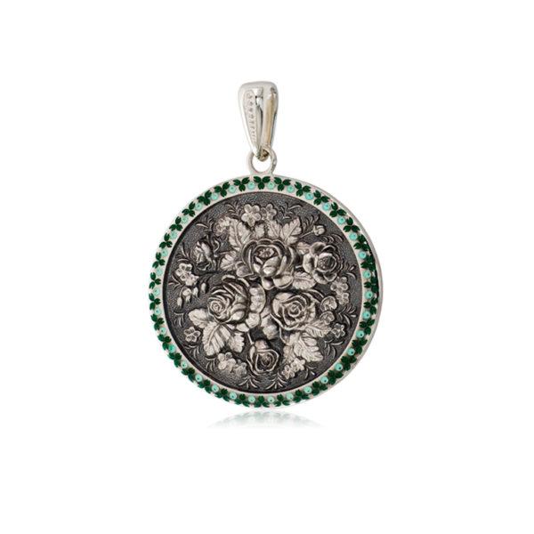3 24 1s 1 600x600 - Серебряная подвеска круглая «Жостово», зеленая