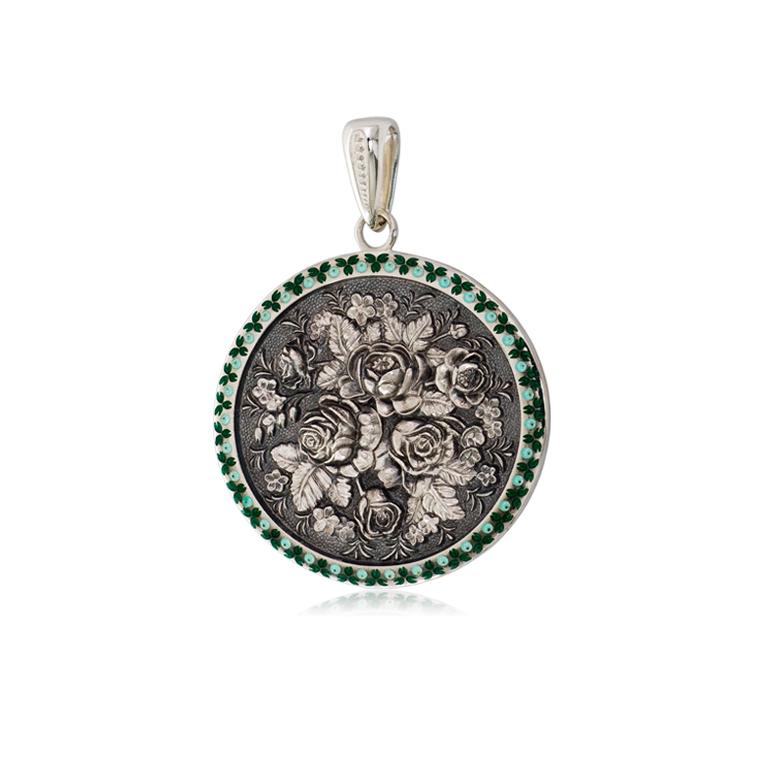 3 24 1s 1 - Серебряная подвеска круглая «Жостово», зеленая