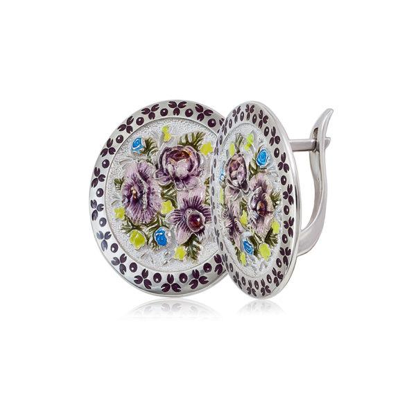 3 24 bel fiol 1200x1050 1 600x600 - Серьги из серебра круглые «Жостово», бело-фиолетовые