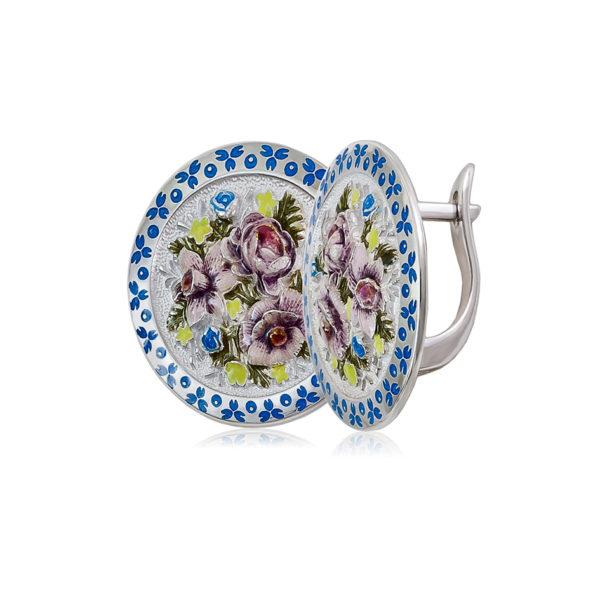 3 24 bel sin 1200x1050 1 600x600 - Серьги из серебра круглые «Жостово», бело-синие