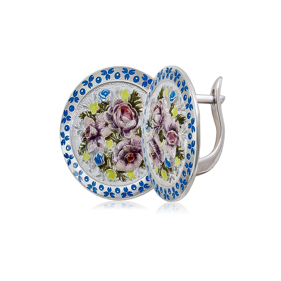 3 24 bel sin 1200x1050 1 - Серьги из серебра круглые «Жостово», бело-синие