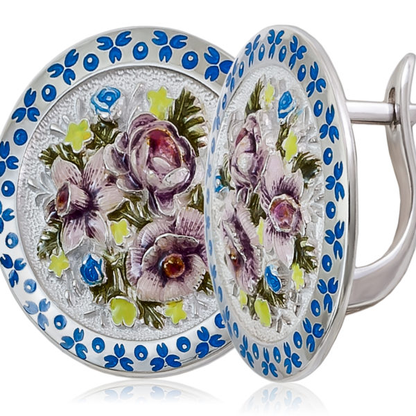 Серьги «Жостово» (круглые), бело-фиолетовая