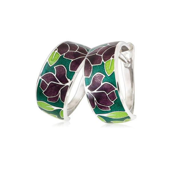 3 27 3s 1 600x600 - Серьги-полукольца «Клематис», фиолетово-зеленые