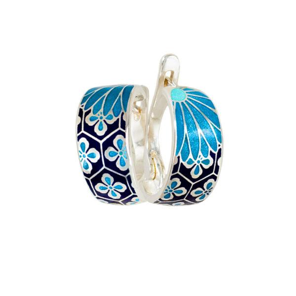 Серьги «Кимоно», синяя