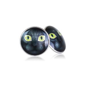 3 45 2s  1 300x300 - Пуссеты «Кошачьи глазки» из серебра, желтые
