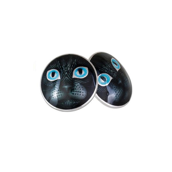 3 45p 2s 1 600x600 - Пуссеты «Кошачьи глазки» из серебра, голубые