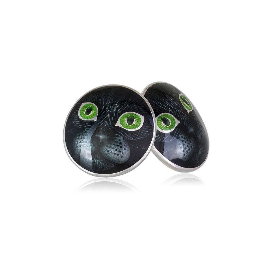 3 45p 3s 1 - Пуссеты «Кошачьи глазки» из серебра, зеленые