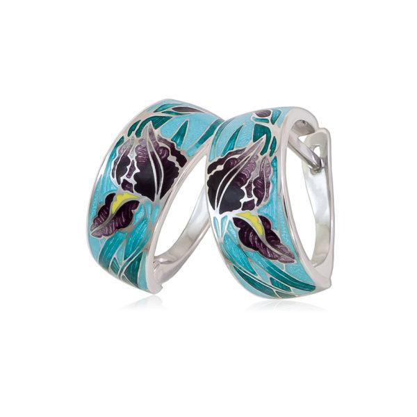 3 46 1s 3 1 1 600x600 - Серьги-полукольца из серебра «Ирисы», морская волна