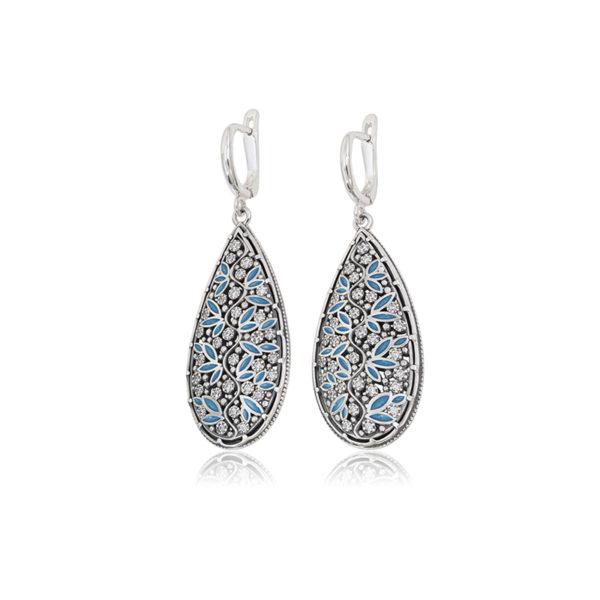3 53 2s 2 2 600x600 - Серьги-подвески серебряные «Росинка», голубые