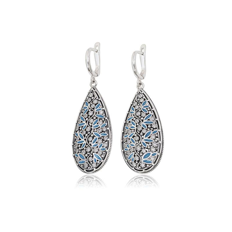 3 53 2s 2 2 - Серьги-подвески серебряные «Росинка», голубые