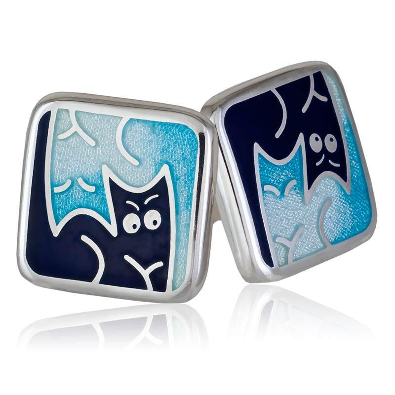 Пуссеты «Котики Инь-Ян», синяя