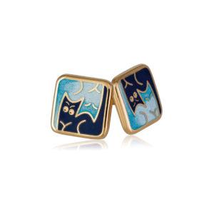 3 59 1z 1 300x300 - Пуссеты «Котики Инь-Ян» (золочение), синие