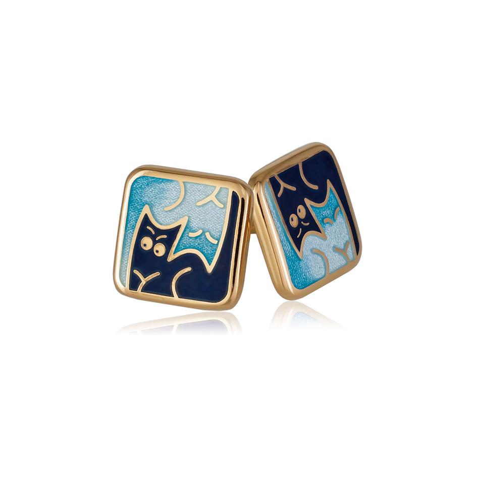 3 59 1z 1 - Пуссеты «Котики Инь-Ян» (золочение), синие