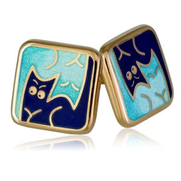Пуссеты «Котики Инь-Ян» (золочение), синяя