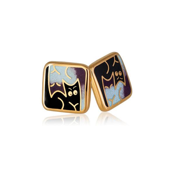 3 59 3z 1 600x600 - Пуссеты «Котики Инь-Ян» (золочение), фиолетовые