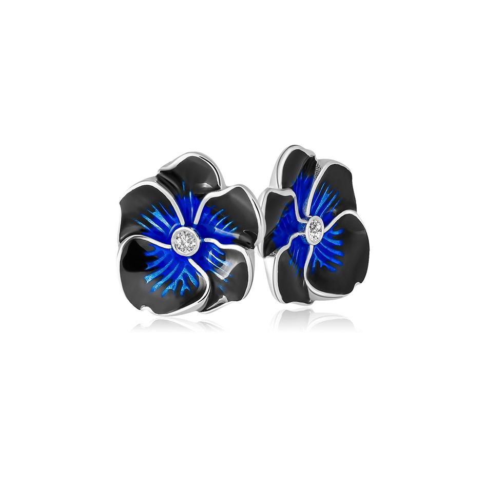3 69 1s 1 1 - Пуссеты «Анютины глазки», темно-синие