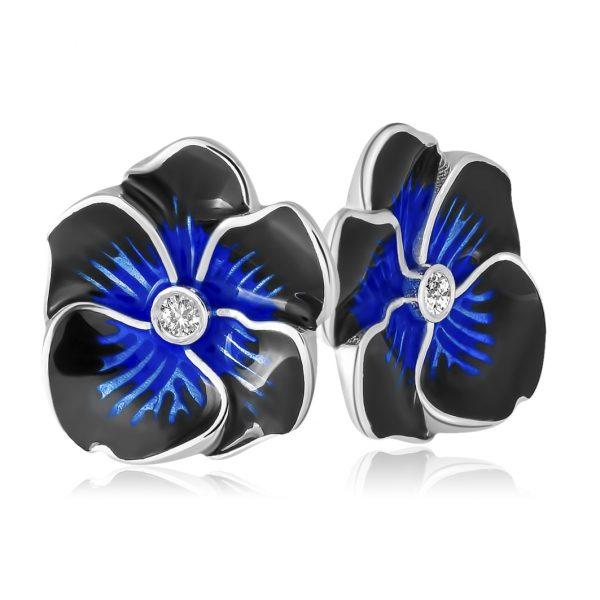 Пуссеты с фианитами «Анютины глазки» (темно-синие)
