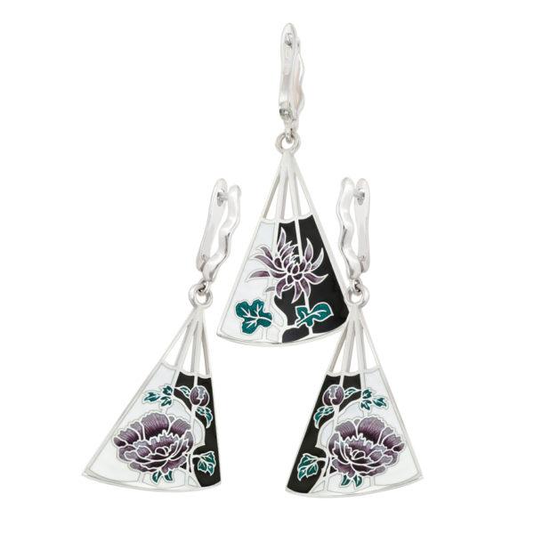 Серьги из серии Веера «Хризантема-Пион», Черно-белая