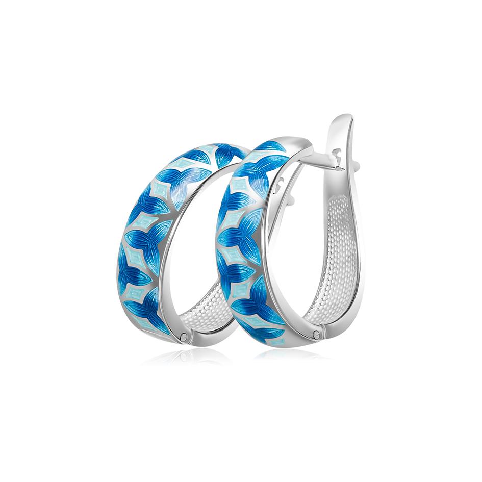 3 91 1s 7 - Серьги-полукольца серебряные «Трилистник», синие