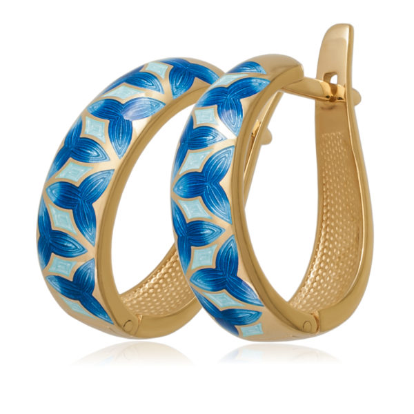 Серьги «Трилистник», синяя