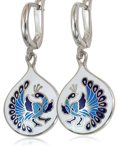 Серьги-подвески «По зернышку», Бело-фиолетовая
