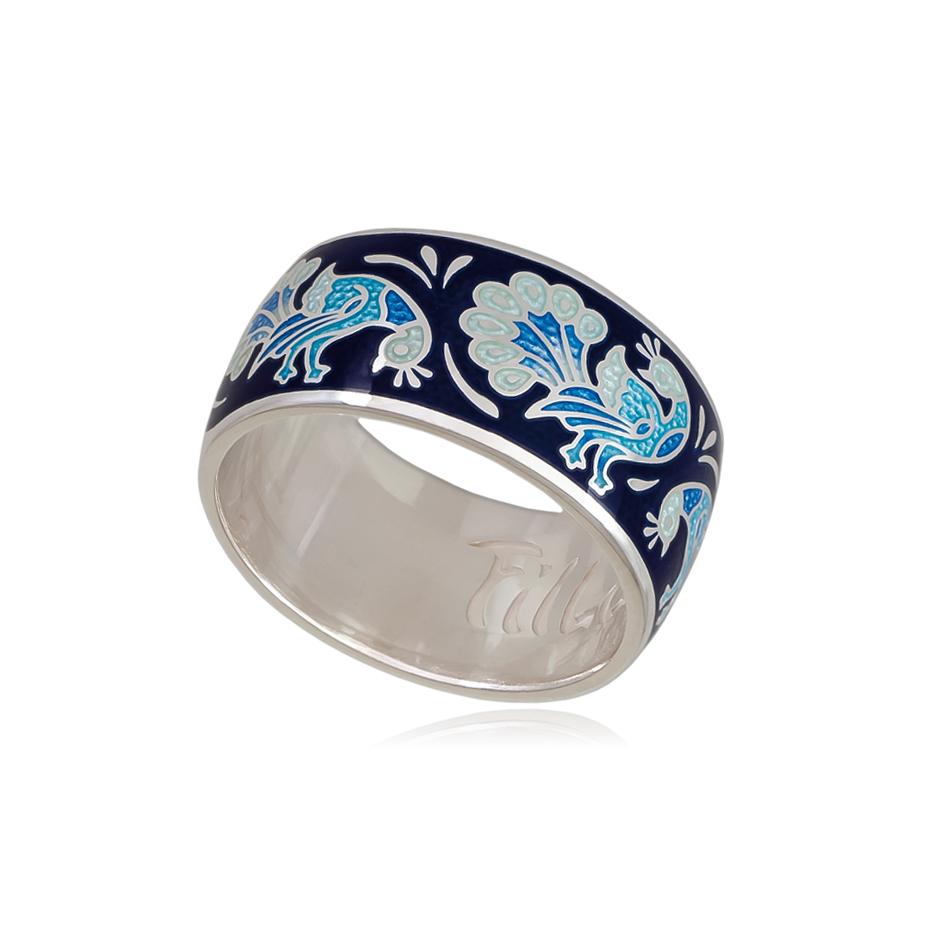 3 92 5s 1 - Кольцо из серебра «По зернышку», синее
