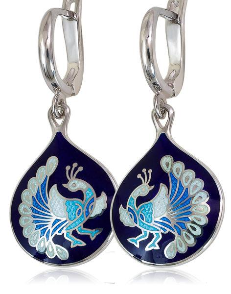 Серьги-подвески «По зернышку», Синяя